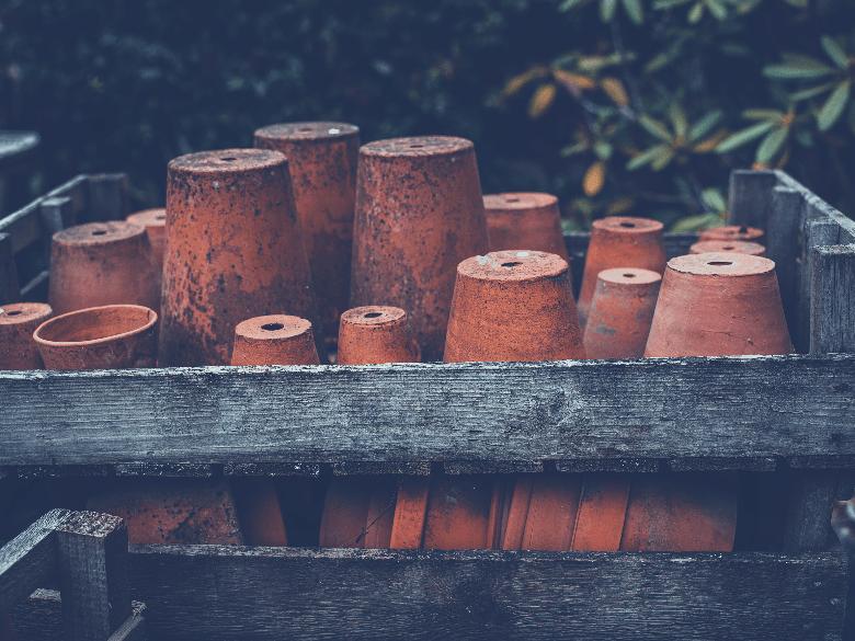 Stack of terra cotta pots