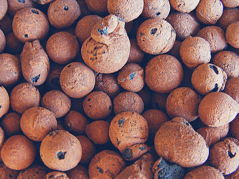 closeup photo of expanded clay pellets.