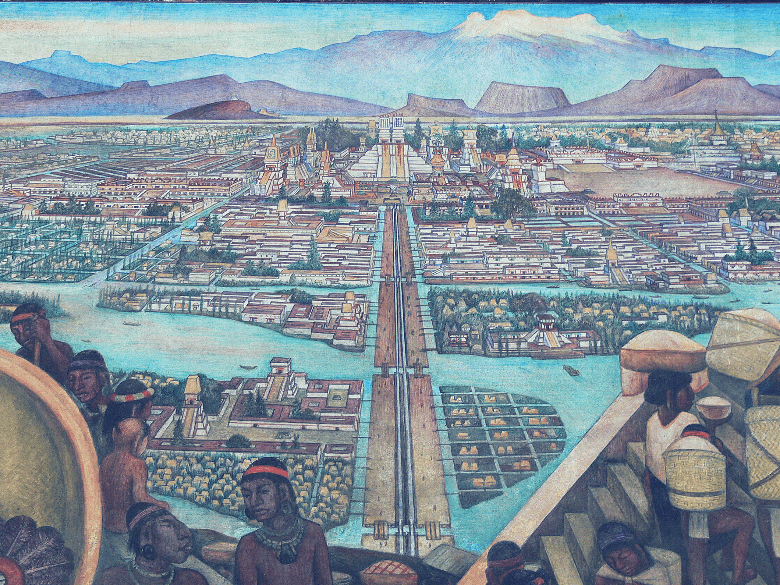 Painting of Aztec Floating Gardens