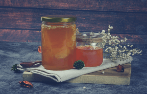 Honey on a table in a jar