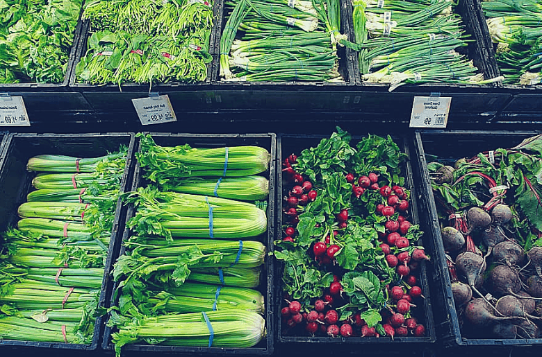 celery in the grocery store