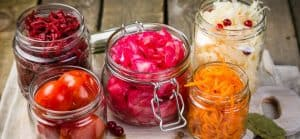 Jars of fermented vegetables