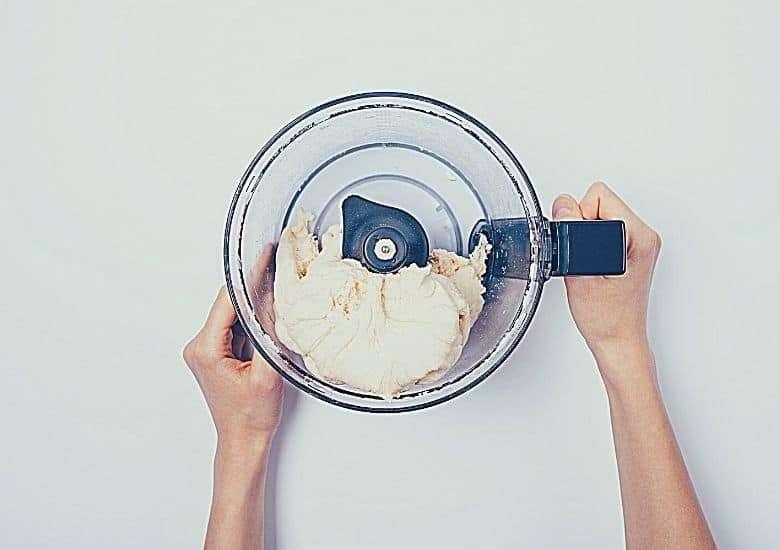 kneading dough in a food processor