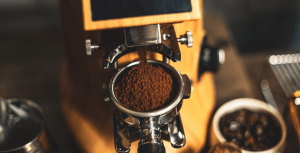 coffee grounds in a machine