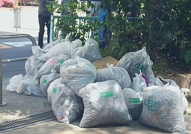 filled white plastic bags
