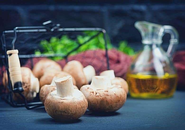 mushrooms on kitchen table