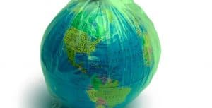 globe wrapped up in plastic
